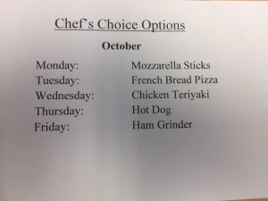 October Chef's Choice Options